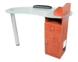 Manicure Nail Table Station Spa Beauty Salon Equipment W/tempered Frosted Glass