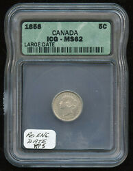 1858 Canada Five Cents Silver - Icg Ms62 - Large Re-engraved Date