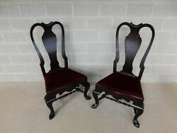 Feldenkreis Mahogany Queen Anne Style Oversize Accent Fireside Chairs - A Pair