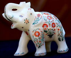 Antique Marble Elephant Trunk Up Mosaic Marquetry Inlay Collectible Gifts H1965