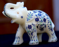 Antique Marble Elephant Sculpture Micro Mosaic Lapis Gem Inlay Decor Gifts H1962
