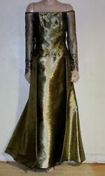 JOANNA MASTROIANNI VINTAGE GOLD EVENING GOWN 12 $600.00