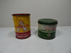 2 Vintage Automotive Grease Cans Texaco Motor Cup And Alemite Wheel Bearing Oil