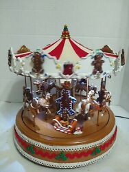 Animated GINGERBREAD COOKIE  carousel  Mr. Christmas  Musical Merry-Go-Round
