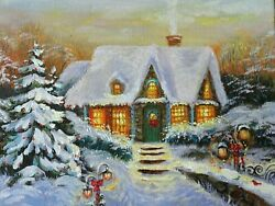 Oil Painting Snow Winter Christmas Holiday Hand Painted By Artist 2