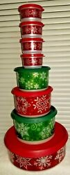Tupperware Snow Place Like Home Christmas Canister Set. 8 Pieces New