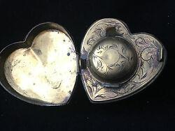 Inkwell Travel Shaped Heart, Early Of 19 Th Century Inkwell Heart