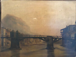 The Old Bridge Of Wood On L'isere In Grenoble Oil On Paper Mounted Canvas