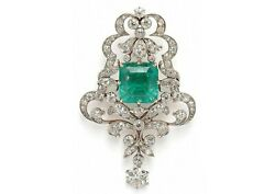 Simulated Green Emerald 925 Sterling Silver Vintage Style Filigree Brooch Pin Cz