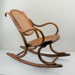 Genuine Thonet Childs Bentwood Rocker Rocking Chair Antique Caned Seat And Back