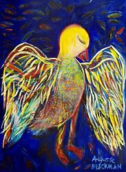 Auguste Blackman Dreambird - Large Original Signed Painting + Certificate Peace