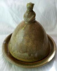 Early Antique Stoneware Bird Figural Top Cover Butter Cheese Dish Earthenware