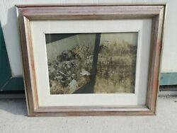 Giuseppe Bankers Oil On Canvas Painting Reflections On Window 13 13/16x9 13/16in
