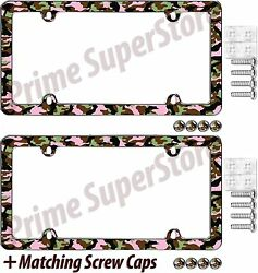 2 Chrome Camouflage Hunting Nature License Plate Frame Car/truck Tag Cover Screw