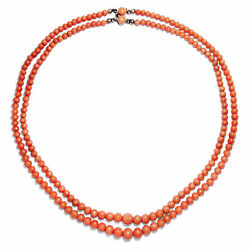 For Sommerfeste Antique Coral Necklace In 2 Rows Italy Um 1900 Lachskoralle