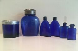 Six 6 Vintage Cobalt Blue French Perfume And Cosmetic Bottles Lovely