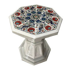 16 Marble Coffee Table Top Carnelian Multi Floral Peacock Inlay With Base E1511
