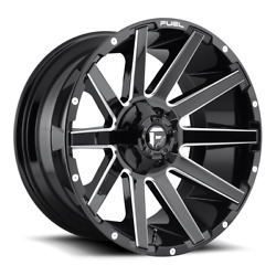 4 22x12 Fuel Gloss Black And Milled Contra Wheel 6x135 6x139.7 For Ford Jeep