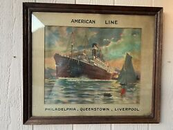 Antique Vintage Cruise Travel Poster For American Line Montague Birrell Black