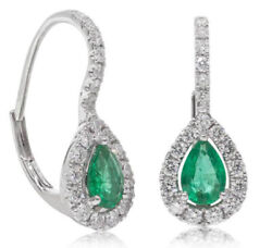 1.91ct Natural Diamond 14k Solid White Gold Emerald Huggie Snap Closure Earring