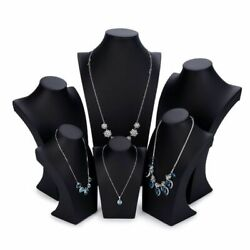 Black Mannequin Pu Leather Jewelry Display Stand Model Fashion Necklace Holder