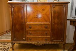 New-renaissance 20th Century Veneered And Carved Wooden Chest Of Drawers