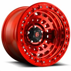 Set Of 4 Fuel Wheels D100 Zephyr 17x9 6x139.7 -15 Candy Red