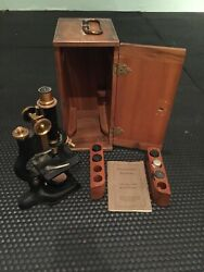 Antique Bausch And Lomb Vintage Brass Model Microscope W/case