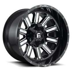 4 22x12 Fuel Gloss Black And Mill Hardline Wheels 6x135 6x139.7 For Ford Jeep