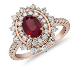 Black Friday 1.81ctw Natural Diamond 14k Rose Gold Ruby Cocktail Ring Size 7