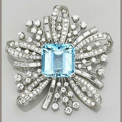 Black Friday 3.20ctw Natural Diamond 14k Solid White Gold Blue Topaz Brooch Pin
