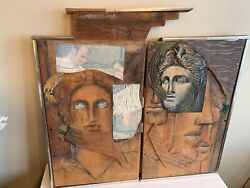 Wooden Hand Crafted Abstract Design Surrealist Wall Art 1973 Lady Liberty
