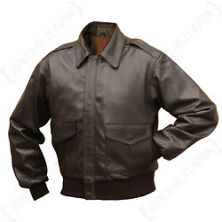 Brown Leather Us Pilots A2 Jacket - Ww2 Coat American Repro Air Force All Sizes