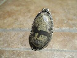 Extra Fine Vintage Navajo Sterling Silver Petrified Agate Ring Size 7.25