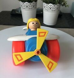 Fisher Price Plane Airplane Helicopter Plastic Toy Made In Usa Vintage 1980 Used