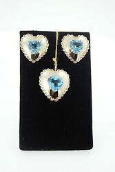 Blue Topaz 14kt Yellow Gold E.r Begay Native American Jewelry Earrings And Pendant