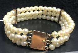 18ct Gold Clasps And Bars Three Line Cultured Pearl Bracelet