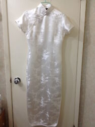 Full Length Traditional Chinese QipaoCheongsom in Floral Design - Ivory Size S