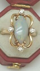 Antique 3.20ct Diamonds And Finest Genuine Australian Opal 14k Yellow Gold Ring