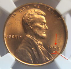 1953 D Ngc Lincoln Wheat Ms 64 Rd 5'error D'up