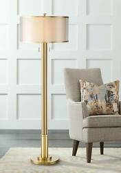 Modern Floor Lamp Antique Brass Double Shade Living Room Reading Bedroom Office