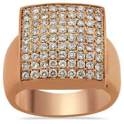 Christmas 2.51ct Natural Round Diamond 14k Rose Gold Cocktail Ring For Men