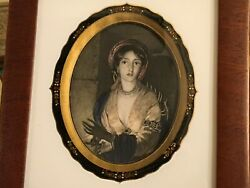 Framed Antique English Hand Colored Steel Engraving Circa 1865 Gold Gilt Lovely