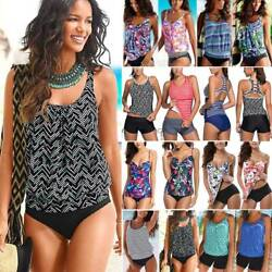 Womens 2 Piece Tankini Padded Printed Top with Boyshorts Bathing Suits Swimsuit