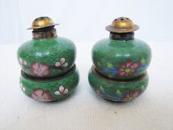 Antique Chinese 20th Century Cloisonne Salt And Pepper Shaker With 2 Bowl