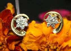0.68ct Natural Round Diamond 18k Solid Yellow Gold Stud Earrings Igi Certified
