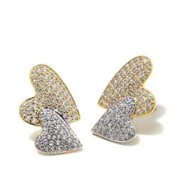 1.2 Ct 2 Joined Hearts Stud Woman Earring Pave Set Two Tone 925 Sterling Silver