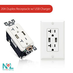 New Era 20a Duplex Tamper Resistant Receptacle With Dual Usb Charger
