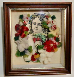 Antique Victorian Mourning Wreath Wool Floral In Shadow Box With Name Daisy