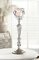 Crystal Flower Tall Candle Stand 14 inches